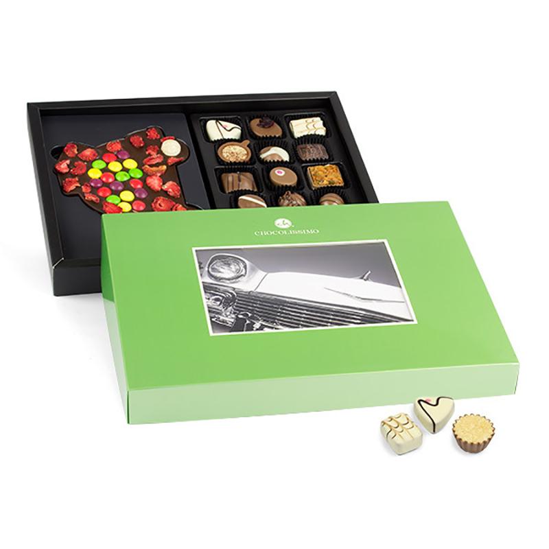 Geschenkpackung Choco Postcard mit Schokoauto