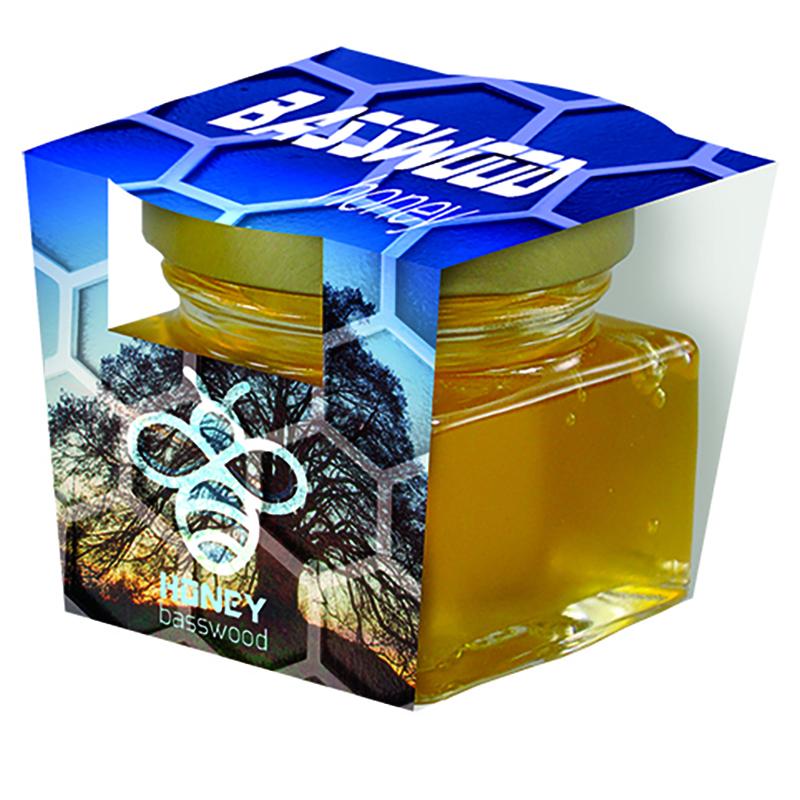 Bio Honig Linde Glas mit Metalldeckel und Papierschuber