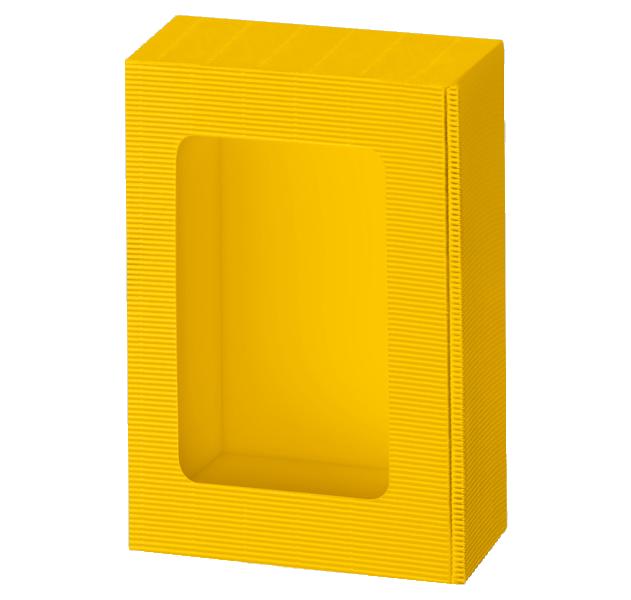 Präsentkarton Welle Modern VARIO mit Sichtfenster Gelb