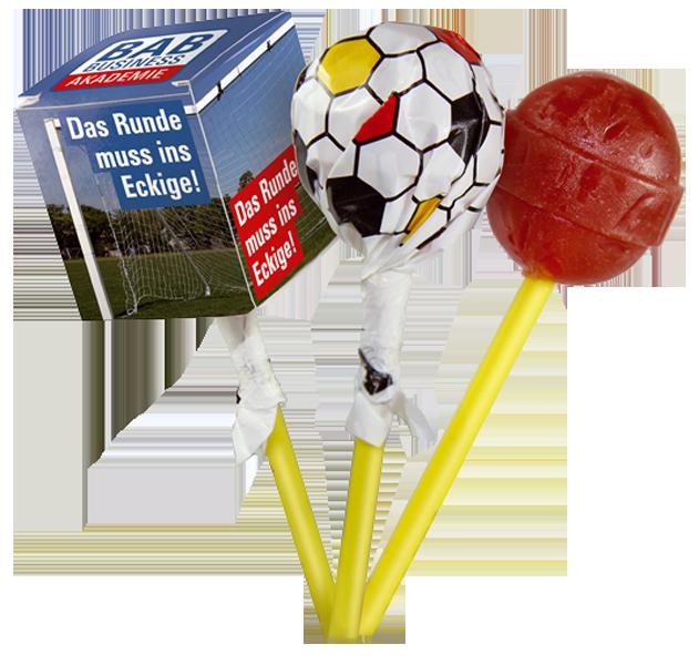 Lolly-Box mit Kugel Lolly Chupa-Chups Fussball
