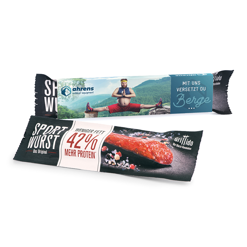 Sportwurst Grillido im Werbeschuber