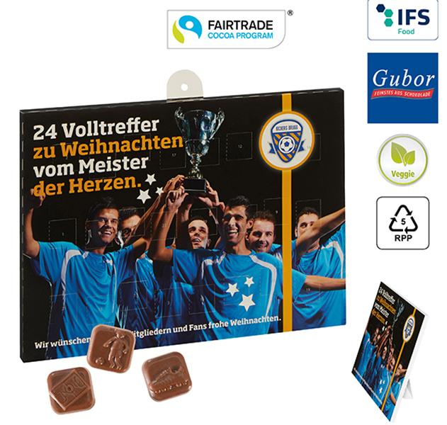Sport-Adventskalender Schokolade Fussball Individuell