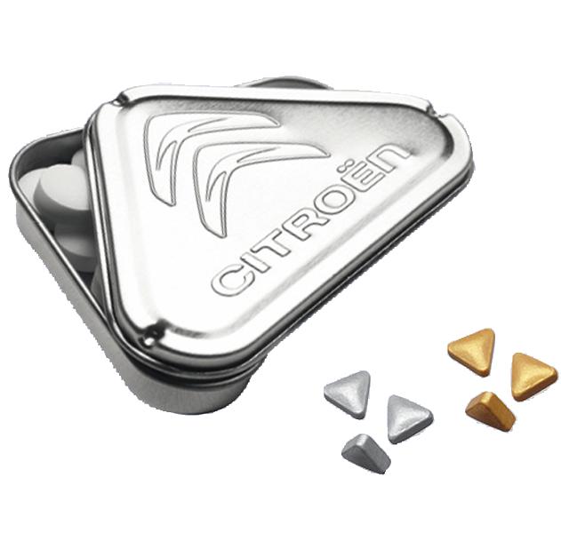 3ECK Metalldose Pfefferminz Gold- oder Silbernuggets