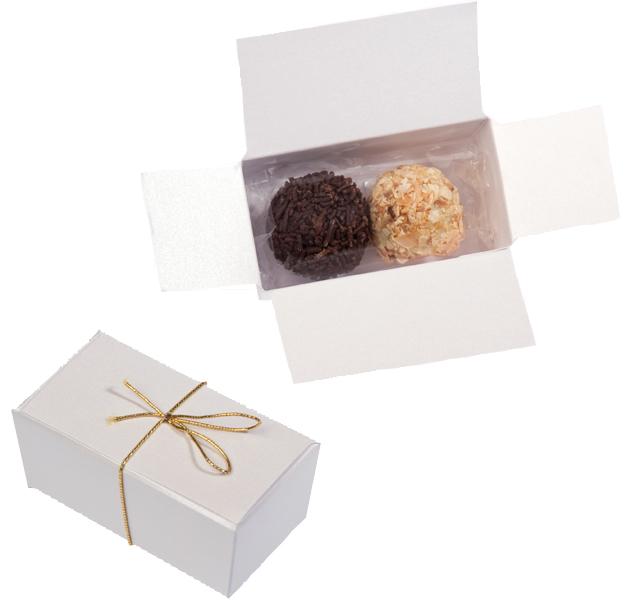 Geschenkpackung Weiss 2er Nougatpralinen