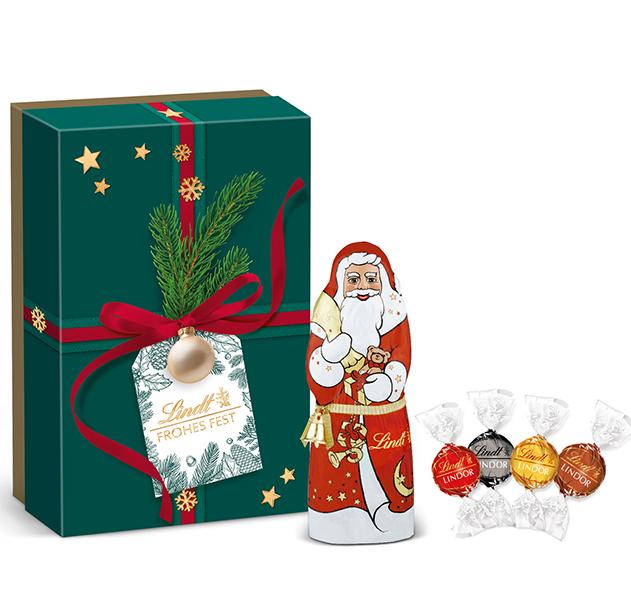 Präsentbox Kugel Santa Geschenk Grün Lindt