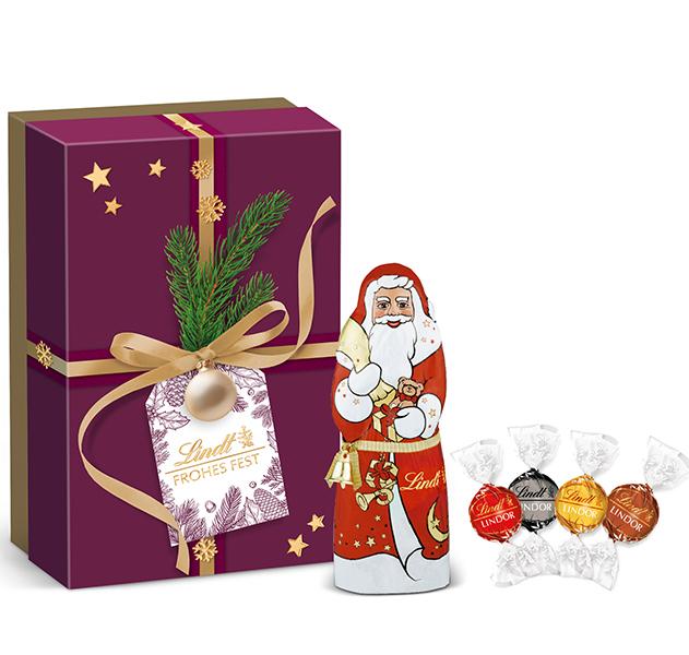 Präsentbox Kugel Santa Geschenk Bordeaux Lindt