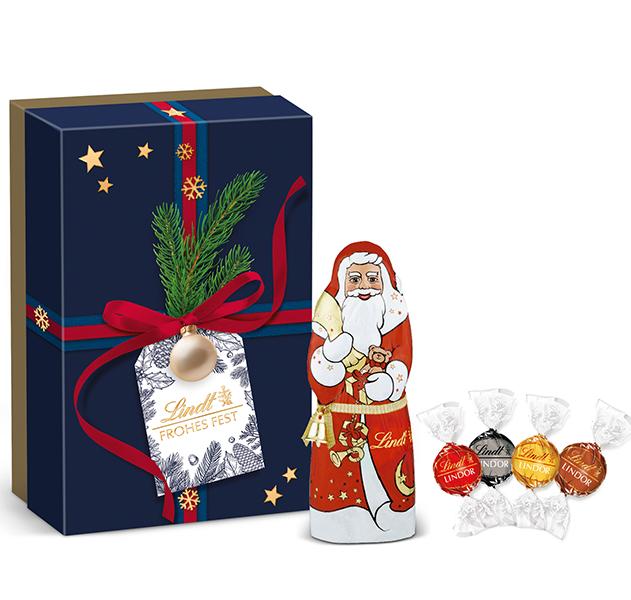 Präsentbox Kugel Santa Geschenk Blau Lindt