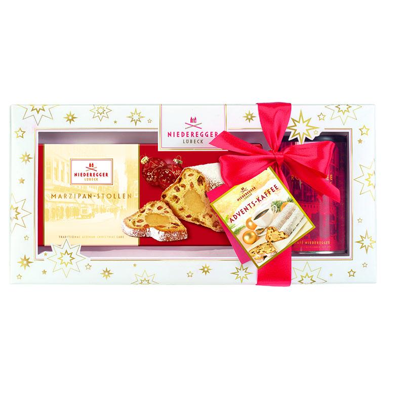 Geschenkpackung Adventskaffee + Niederegger Marzipan-Stollen
