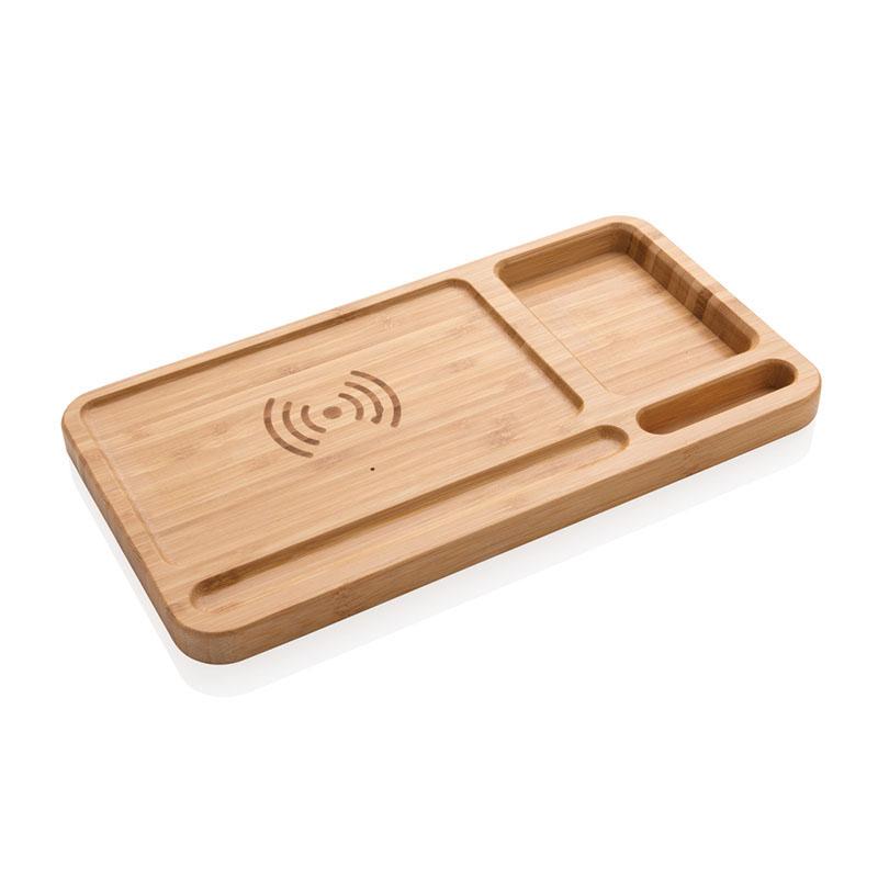 Bambus Schreibtisch-Organizer mit 5W Wireless Charger