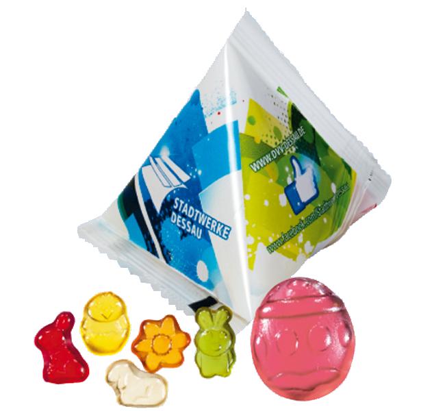Werbepyramide Fruchtgummi Ostern - 12 g.