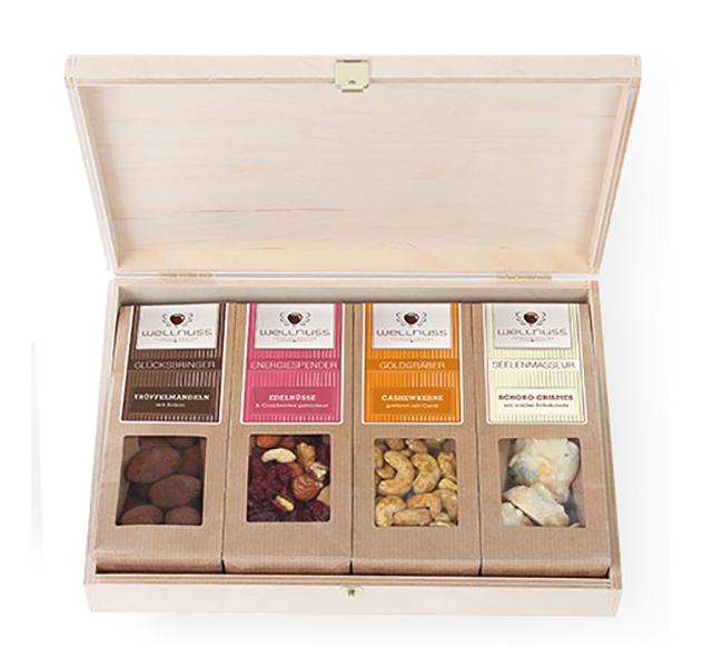 Premium 4er Wellnuss Snack Birkenholzbox