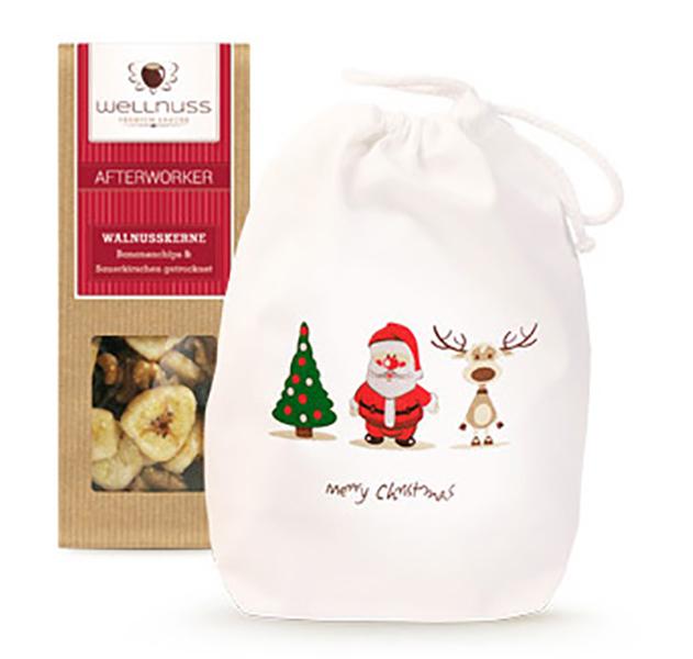 Premium 1er Wellnuss Snack Baumwollsäckchen Weihnachten
