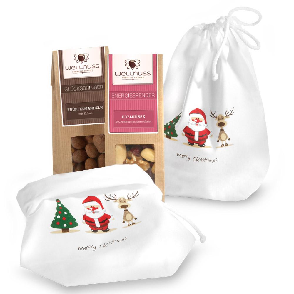Premium 2er Wellnuss Snack Baumwollsäckchen Weihnachten
