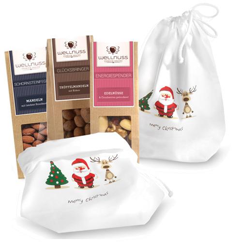 Premium 3er Wellnuss Snack Baumwollsäckchen Weihnachten