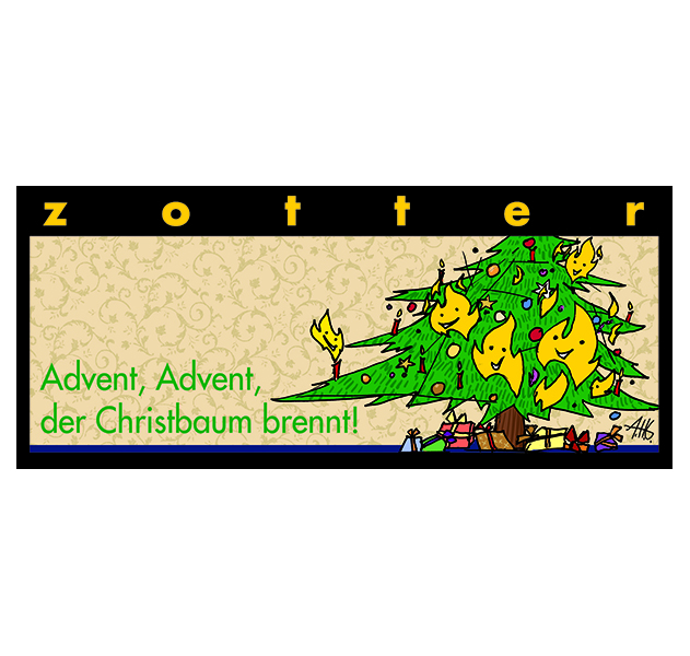 Zotter Schokolade Advent, Advent, der Christbaum brennt!