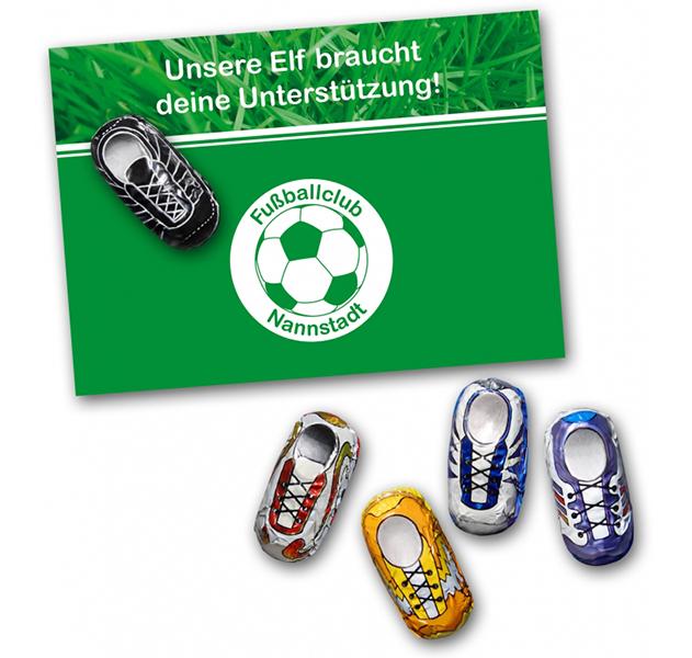 Grusskarte Schokofussballschuh